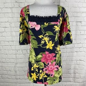 Navy Tropical Flower Embroidered Top